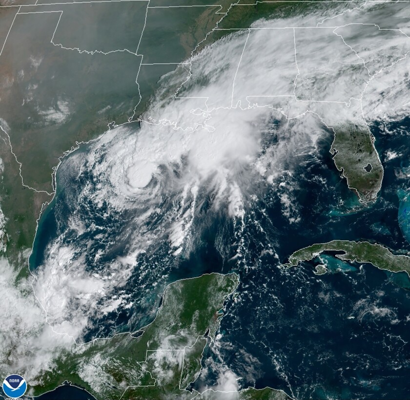 A satellite image shows Tropical Storm Beta  in the Gulf of Mexico.