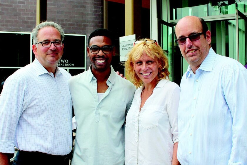 Playhouse managing director Michael S. Rosenberg, playwright Michael Benjamin Washington, director Lucie Tiberghien and playhouse artistic director Christopher Ashley prepare for the world-premiere of 'Blueprints to Freedom: An Ode to Bayard Rustin.'