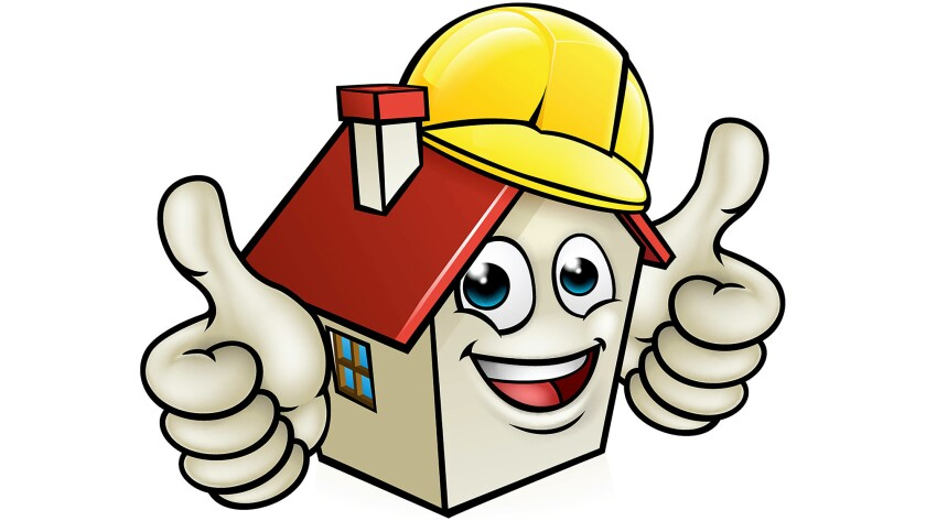 A house cartoon mascot character wearing construction site hard hat