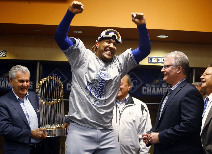 Kansas City Royals' Salvador Perez celebrates after Game 5 of the Major League Baseball World Series against the New York Mets Monday, Nov. 2, 2015, in New York. The Royals won 7-2 to win the series. (Al Bello/Pool via AP)