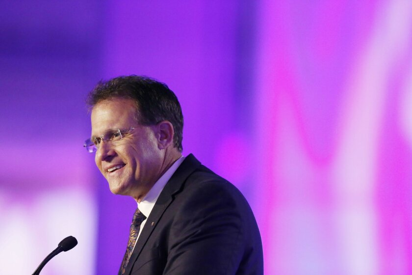 Auburn coach Gus Malzahn speaks to the media at the Southeastern Conference NCAA college football media days, Monday, July 11, 2016, in Hoover, Ala. (AP Photo/Brynn Anderson)