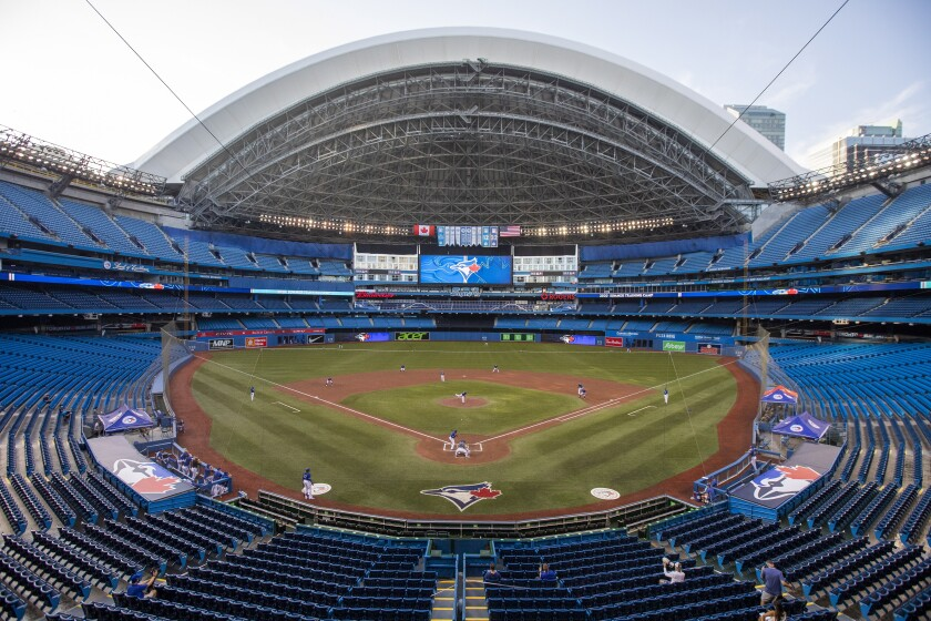 The Toronto Blue Jays play an intrasquad baseball game in Toronto on Thursday, July 9, 2020. (Carlos Osorio/The Canadian Press via AP)