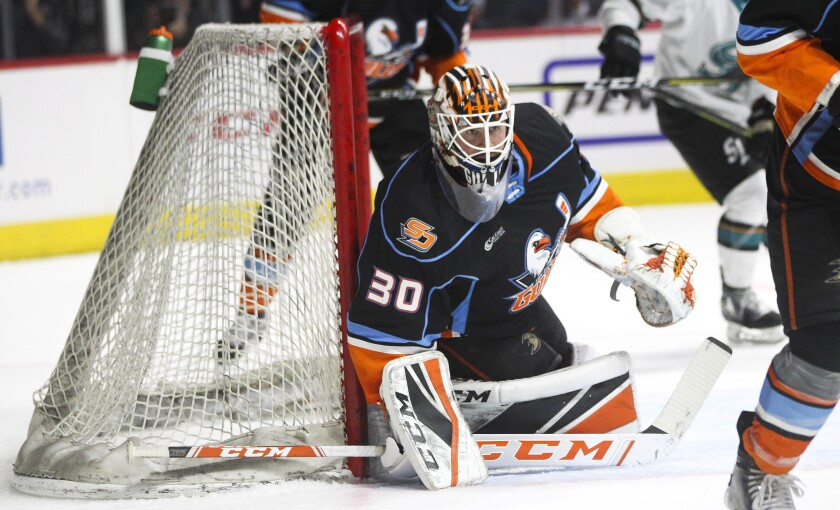 The Gulls' goalie Jeff Glass defends the goal during the second period against the San Jose Barracuda.
