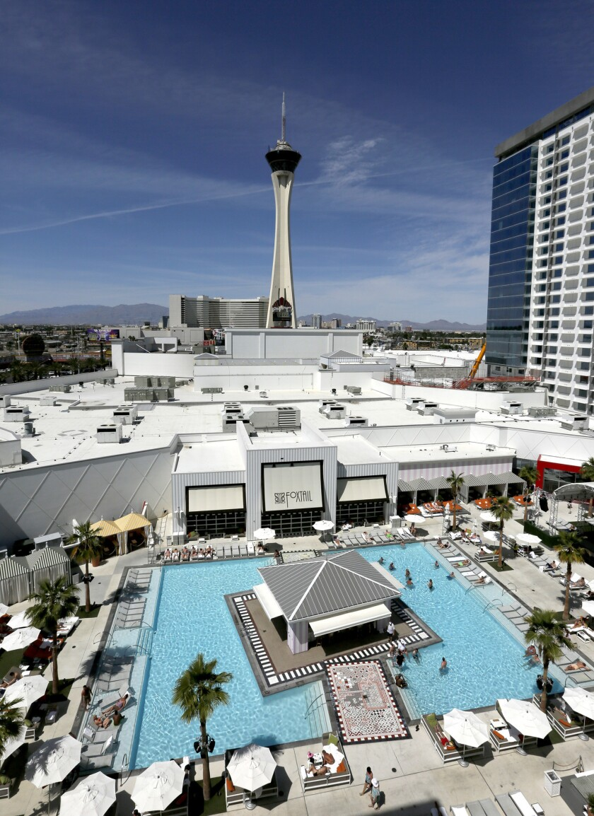 Foxtail Pool at SLS Las Vegas features live entertainment on weekends.