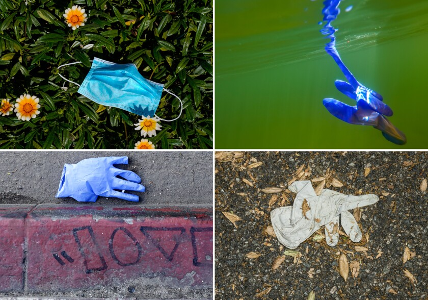 A disposable glove on the ground