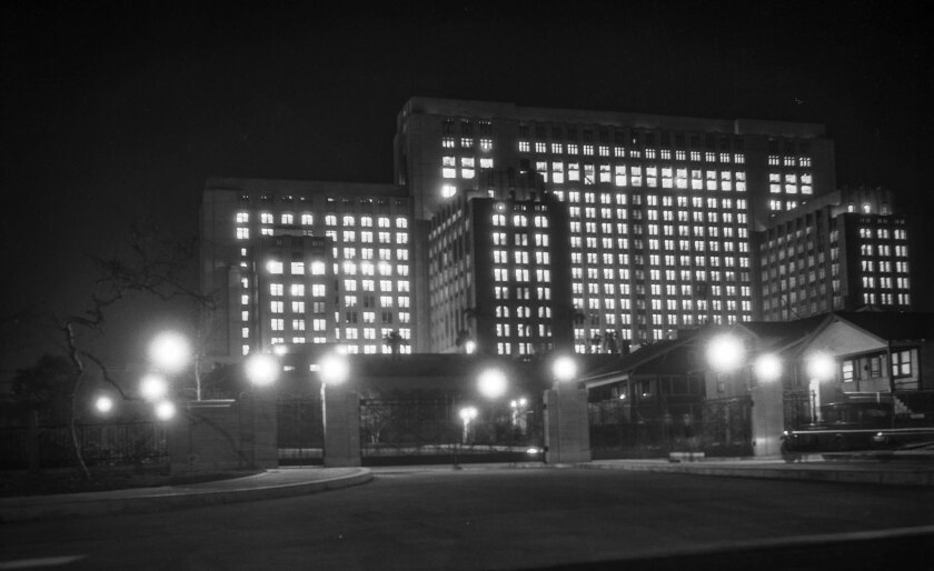 Feb. 16, 1933: The brand new General Hospital during lighting test to see if power plant can produce enough electricity to power 9,000 light fixtures. The lights were left on for four hours.
