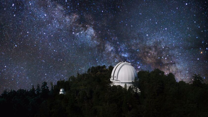 """A composite image for """"Knowledges at Mount Wilson Observatory"""" shows the observatory against the Mil"""