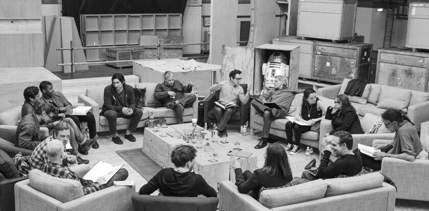 """J.J. Abrams (top center right) leads a table read of """"Star Wars: Episode VII."""""""""""
