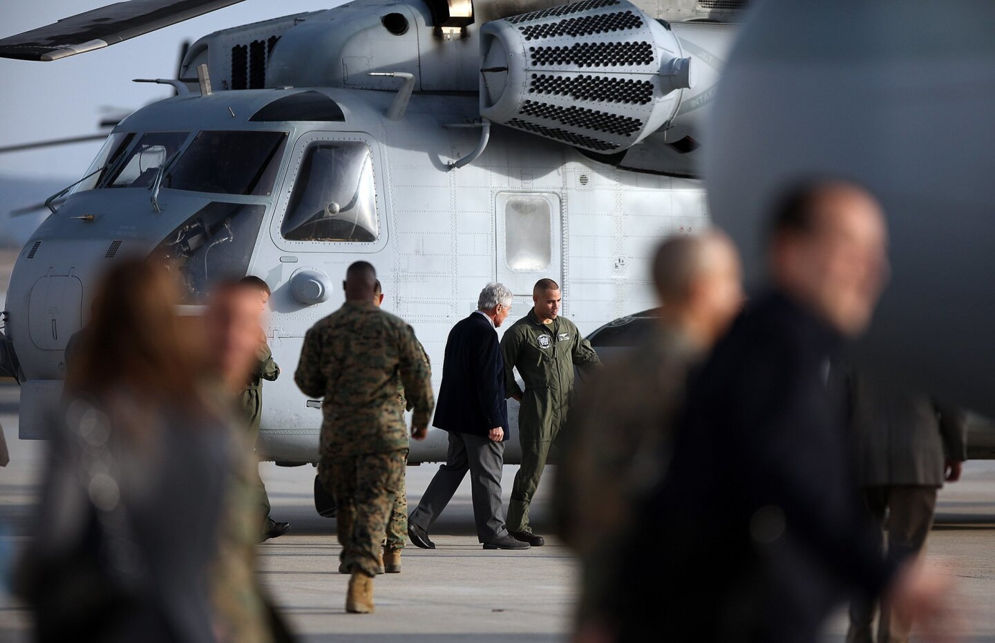 Secretary Hagel was introduced to pilots of various aircraft including this CH-53 Super Stallion.