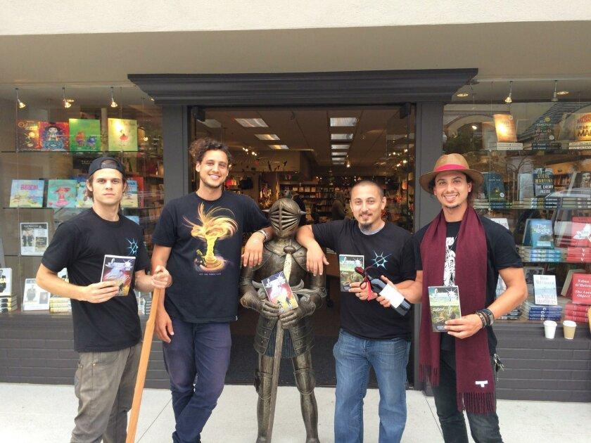 Curseborn Saga creators Peter Kolias (aka Squall Ace), Trevor Barber (aka Elnath Shanks), Simon Gatsu Sandoval (who doesn't use a pen name) and Justin Barber (aka Trowa Cloud) hold a book signing at Warwick's May 30.