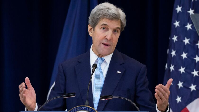 Secretary of State John Kerry delivers remarks outlining the Obama administration's vision for a Middle East peace deal at the State Department in Washington on Wednesday.