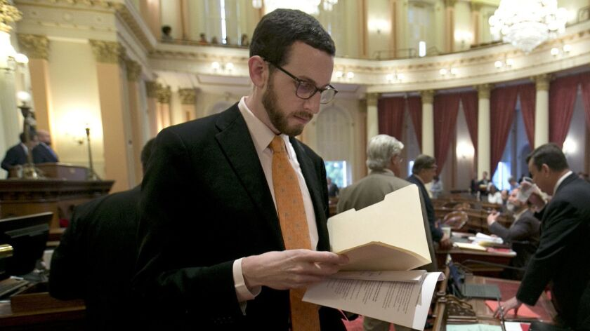 State Sen. Scott Wiener (D-San Francisco), whose net neutrality bill was challenged Tuesday by representatives of big internet service providers.