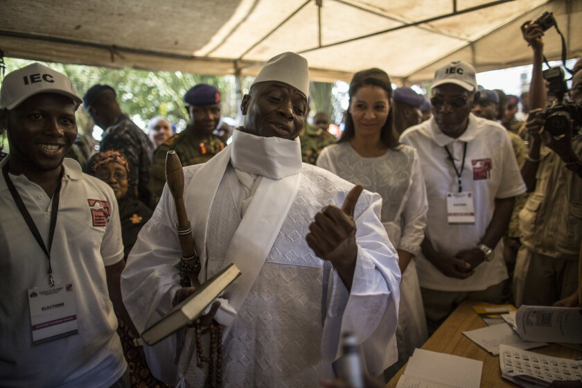 Gambian President Yahya Jammeh,  casting his ballot this week, said he didn't mind being called a dictator.
