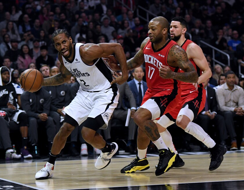 Rockets forward-turned-center P.J. Tucker (17) is just as likely to guard Clippers All-Star Kawhi Leonard as a traditional center.