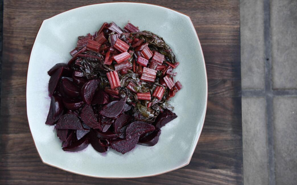 Soy-Braised Swiss Chard with Shallot-Marinated Beets