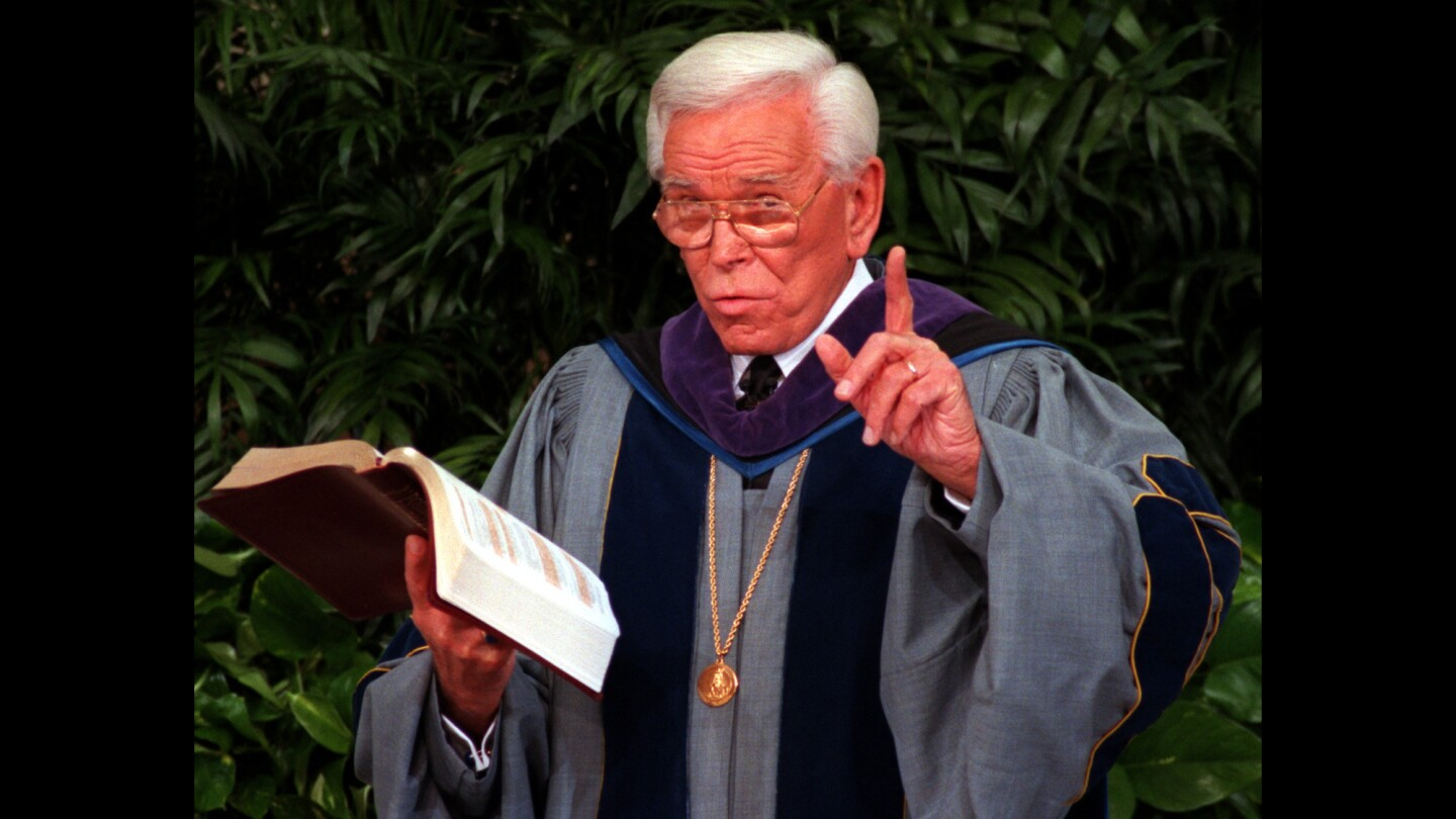 The Rev. Robert H. Schuller preaches at the Crystal Cathedral in 1997.