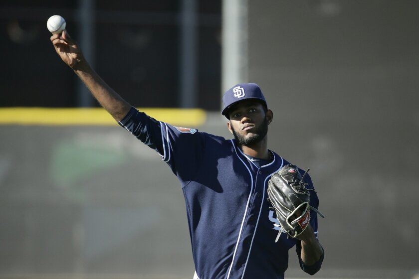 Padres pitcher Tayron Guerrero throws during spring training baseball practice Saturday, Feb. 20, 2016, in Peoria, Ariz.