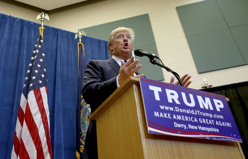 "FILE - In this Aug. 19, 2015 file photo, Republican presidential candidate businessman Donald Trump speak in Derry, N.H. Trump on Friday declared the ""silent majority is back!,"" an echo of former President Richard Nixon's appeal to overlooked Americans, as his GOP rivals struggled for traction in a race dominated by the billionaire businessman. (AP Photo/Mary Schwalm, File)"