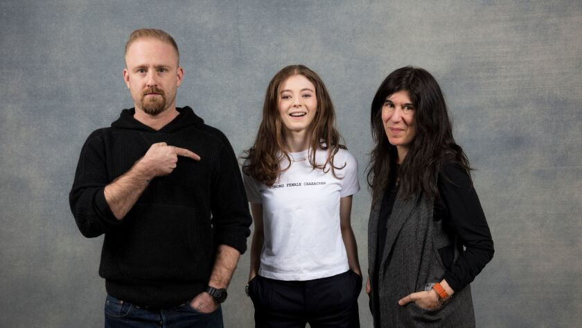 """Actor Ben Foster, actress Thomasin McKenzie and director Debra Granik from the film """"Leave No Trace,"""" photographed in the L.A. Times Studio during the Sundance Film Festival."""