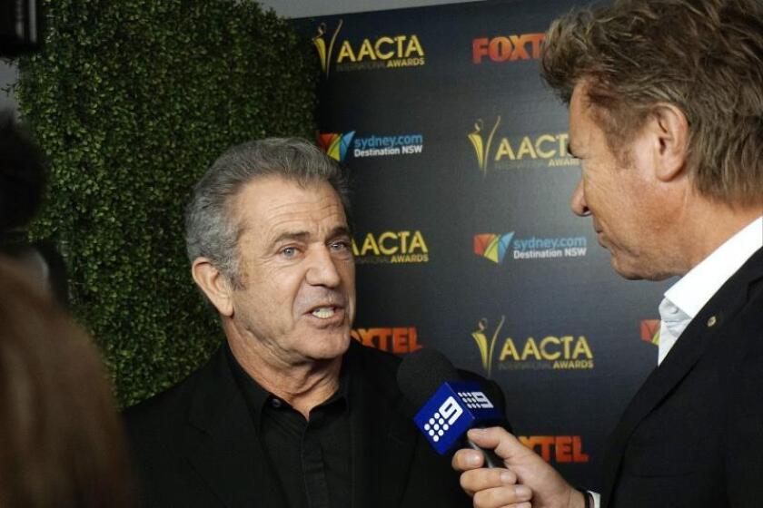 US actor Mel Gibson (L) arrives for the 6th Australian Academy of Cinema and Television Arts (AACTA) International Awards at the Avalon Hollywood nightclub in Los Angeles, California, USA. EFE/EPA/Nina Prommer/File