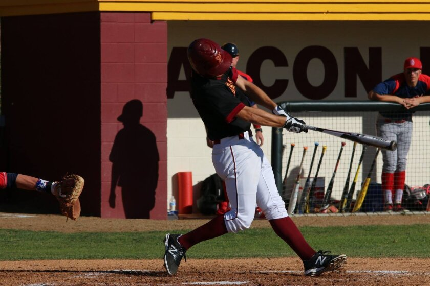 Notre Dame-bound Torrey Pines graduate Jake Singer slams a hit at a recent varsity baseball game. Courtesy photo