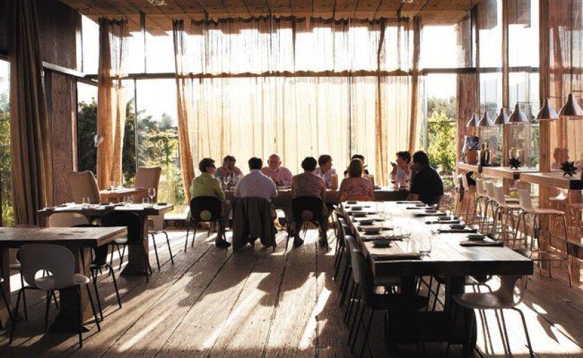 Inside Corazón de Tierra. The restaurant is located in Valle De Guadalupe, Mexico's wine country.
