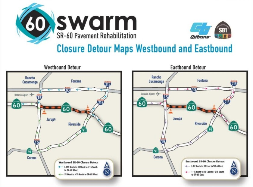 Road closures on 60 Freeway reverse course as westbound