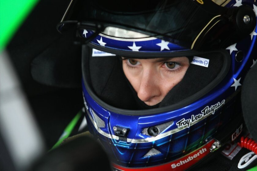 Danica Patrick in her car before the start of the STP 400 on Sunday.