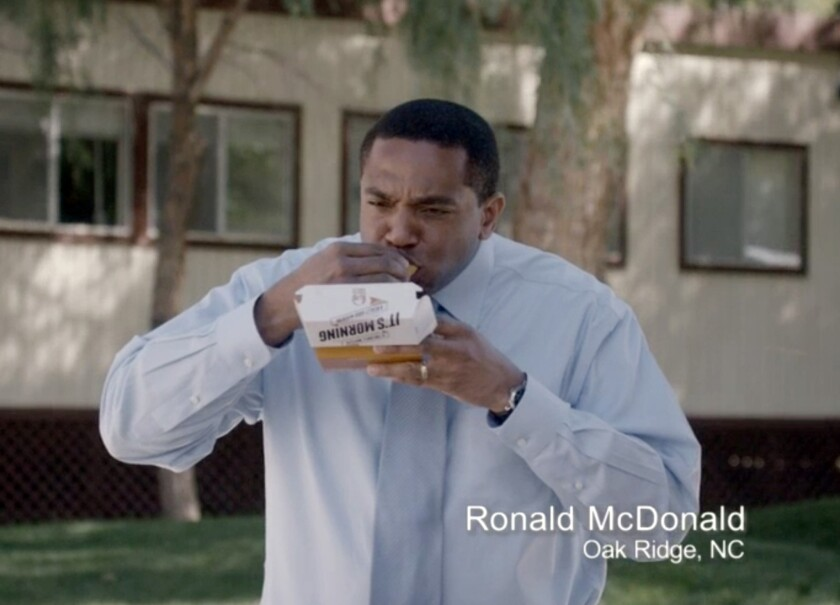 Taco Bell began airing commercials Thursday featuring everyday men actually named Ronald McDonald promoting the chain's new breakfast menu.