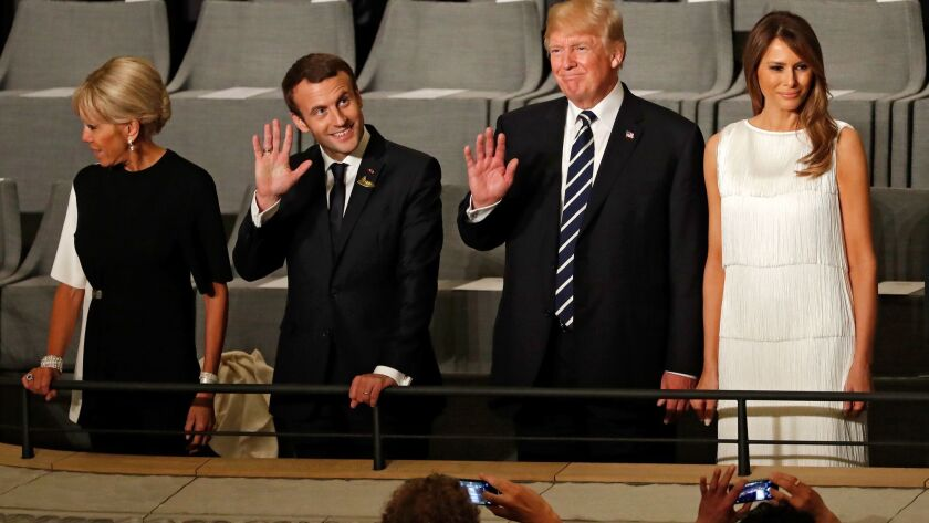President Trump and First Lady Melania Trump with French President Emmanuel Macron and his wife, Bri