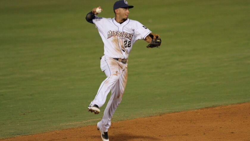 Padres shortstop prospect Javier Guerra with Double-A San Antonio.