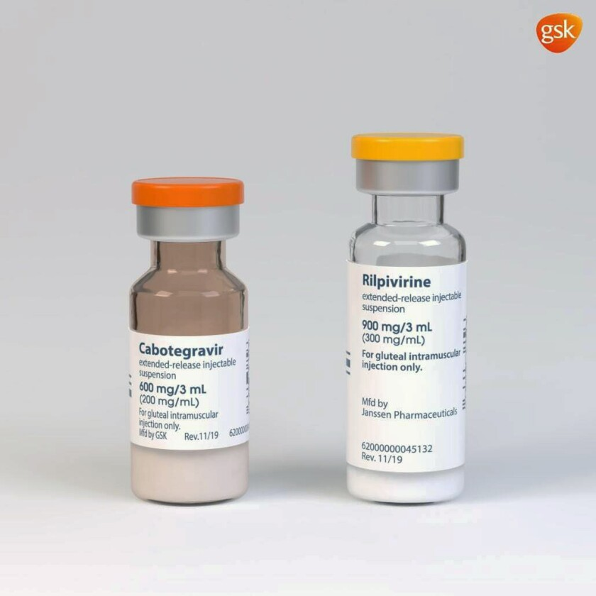 These illustrations, provided by drugmaker ViiV Healthcare on Thursday, Dec. 10, 2020, shows a rendering of the packaging and vials containing its new HIV treatment, Cabenuva, approved by the U.S. Food and Drug Administration on Thursday, Jan. 21, 2021. U.S. regulators have approved the first long-acting combo drug for HIV, monthly shots that can replace the daily pills that have been used for decades to control infection with the AIDS virus. Thursday's approval of Cabenuva is expected to make it easier for people to stay on track with their HIV medicines and to do so with more privacy(ViiV Healthcare via AP)