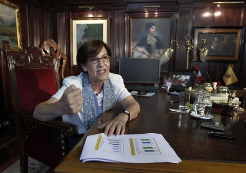 In this Feb. 7, 2013 photo, Lima's Mayor Susana Villaran speaks during an interview at her office in Lima, Peru. Villaran, a 63-year-old career human rights defender and the first woman ever elected to manage Peru's capital, will face a recall election on March 17. Detractors portray Villaran as an