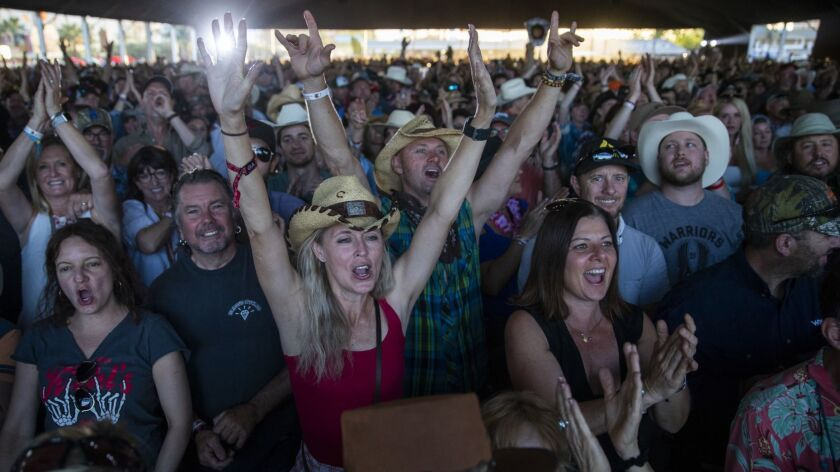 INDIO, CALIF. -- SUNDAY, APRIL 29, 2018: Fans cheer after Gordon Lightfoot finishes performing a son