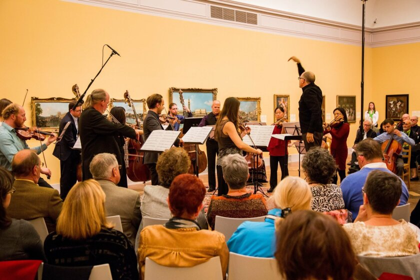 "Steven Schick conducts Anna Clyne's ""Wiithin Her Arms"" at Art of Elan's Tuesday concert at the San Diego Museum of Art. Photo: William Zauscher"