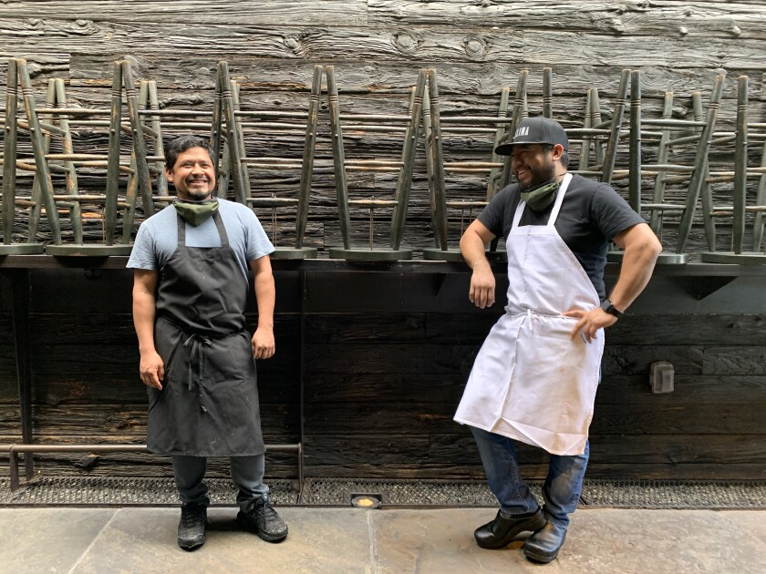 Chefs Pedro Aquino, left, and Juan Hernandez, who are from neighboring towns in Oaxaca, Mexico, have launched a pop-up, Valle, inside the MTN space in Venice.