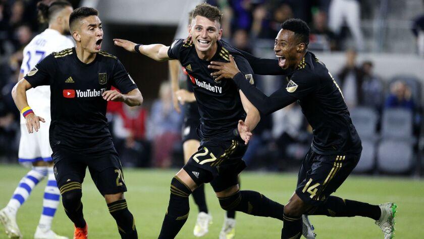 Los Angeles FC defender Tristan Blackmon (27), celebrates his goal with forward Christian Ramirez (2