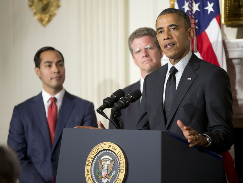 President Obama announces the nomination of San Antonio Mayor Julian Castro, left, to lead the Department of Housing and Urban Development to replace Shaun Donovan, center, who the president named to head the Office of Management and Budget, at the White House on Friday.