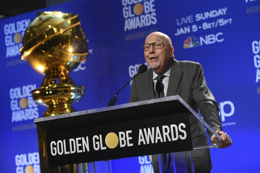 FILE - Lorenzo Soria speaks at the nominations for the 77th annual Golden Globe Awards on Dec. 9, 2019, in Beverly Hills, Calif. Soria, president of the Hollywood Foreign Press Association and former editor of the Italian news weekly L'Espresso, died Friday, the association said. He was 68. (AP Photo/Chris Pizzello, File)
