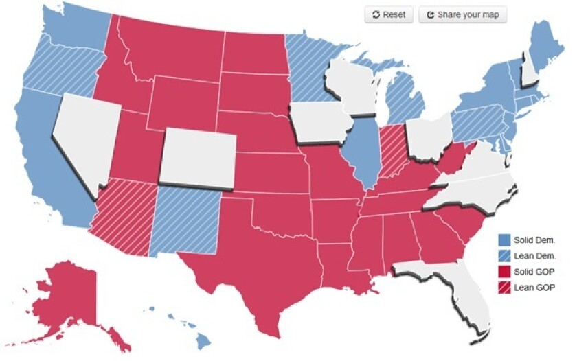 The 2012 presidential election is likely to be decided by voters in a small number of swing states. The Times has identified these states in play -- shown above in gray -- based on polling data and other factors. Click through to predict a winner.