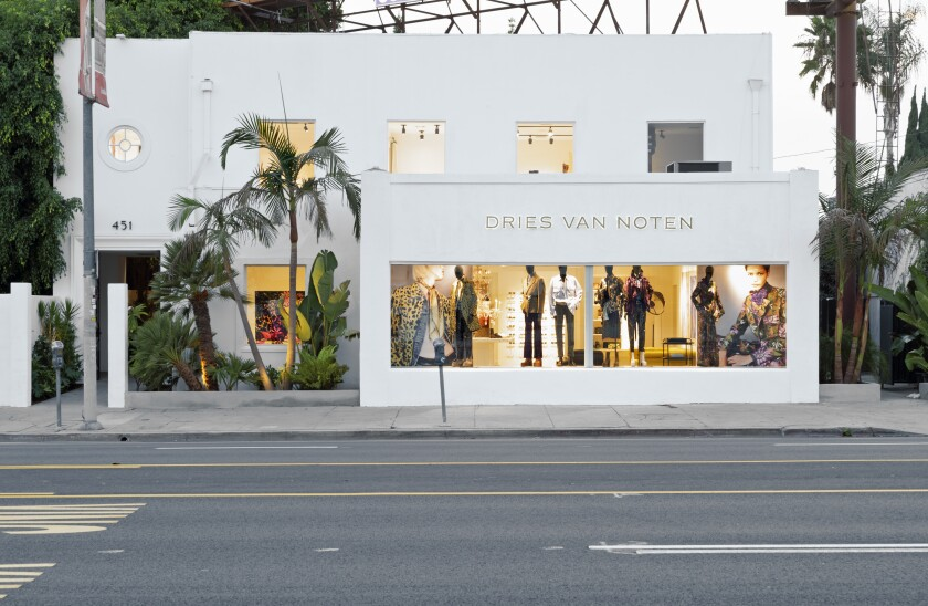 The exterior of the new Dries Van Noten store in Los Angeles.