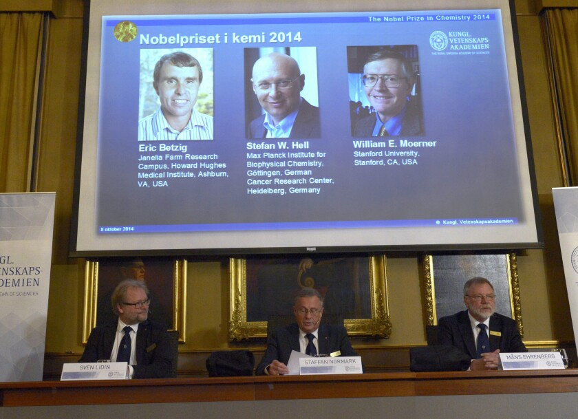 Representatives of the Swedish Royal Academy of Sciences announce the 2014 Nobel chemistry laureates in Stockholm.