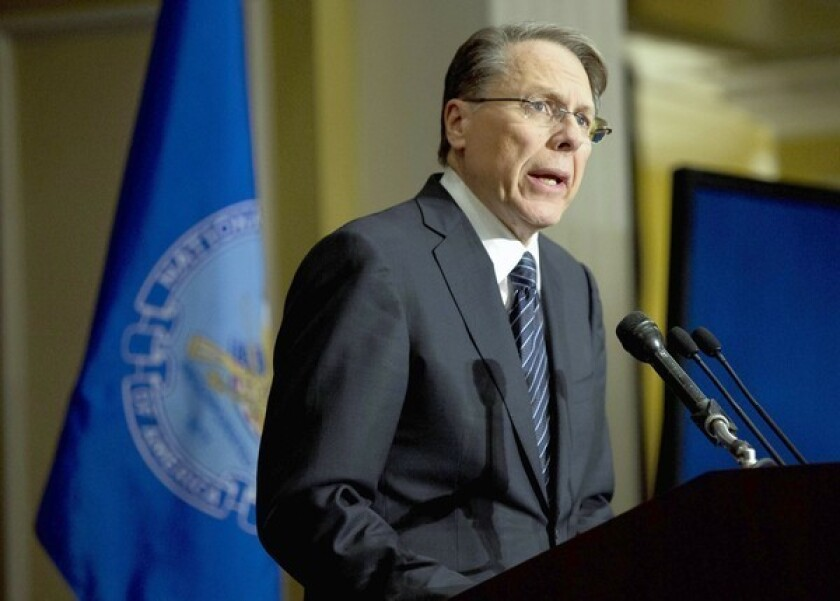 National Rifle Association executive vice president Wayne LaPierre speaks during a news conference in response to the Connecticut school shooting last month.