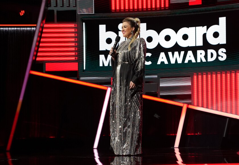Kelly Clarkson at the 2020 Billboard Music Awards.