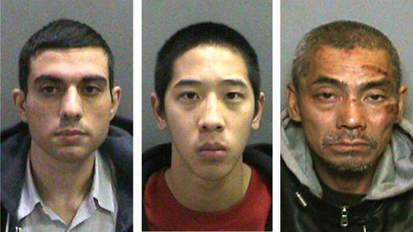 Hossein Nayeri, left, Jonathan Tieu and Bac Duong escaped from the Orange County Men's Central Jail on Jan. 22. They were recaptured a week later.