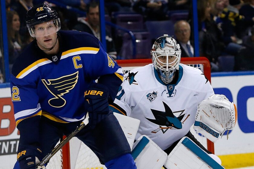 St. Louis Blues' David Backes, left, takes up position in front of San Jose Sharks goalie Martin Jones during the second period of an NHL hockey game Monday, Feb. 22, 2016, in St. Louis. (AP Photo/Scott Kane)