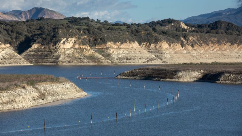 Lake Cachuma in Santa Barbara County is the lowest by far of any reservoir in California.