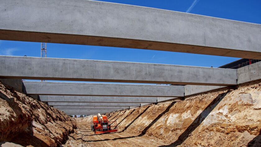 About 40 girders were set over two days at the Fresno Trench that will run parallel to a Union Pacif
