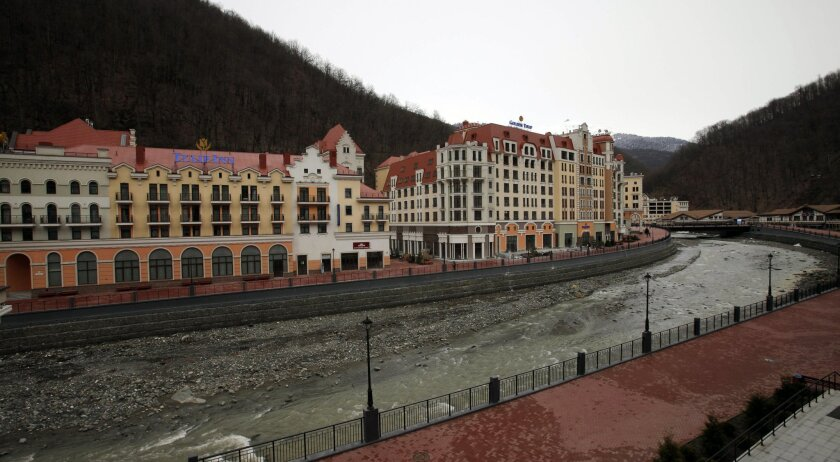 Newly built hotels are situated along a river in Krasnaya Polyana, 37 miles east of  Sochi. The ski resort area will host some of the Olympic sports events.