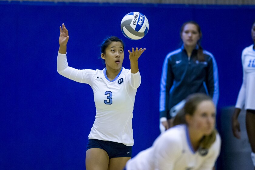 Former CCA volleyball standout Kalie Wood now plays at Columbia University.